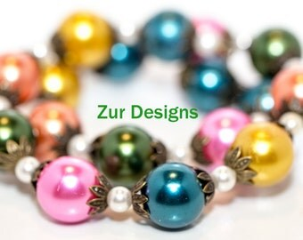 Czech Glass Colorful Pearl Memory Wire Bracelet with Swarovski Pearls and Antique Bronze Accents