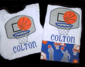Personalized Baby Gift Handmade Appliqued Basketball Bib and Burp Cloth Reversible White Chenille