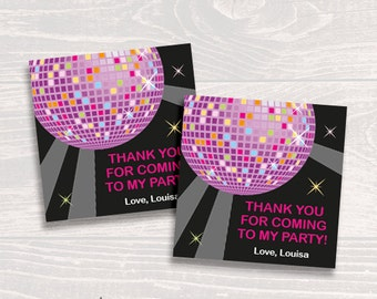 Personalized Disco or Dance Party Favor Tags or Stickers - DIY Printable (Digital File)