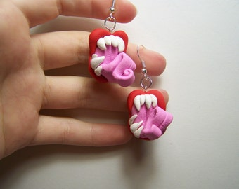 slurp! polymer clay monster mouth dangle earrings