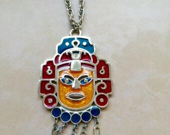 Vintage Capri Aztec Mask Necklace Enamel Tribal