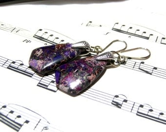 Purple Emperor Jasper Gemstone Earrings  Sterling Silver Earrings Modern Earrings Chic Jewelry for Women Gifts Ideas
