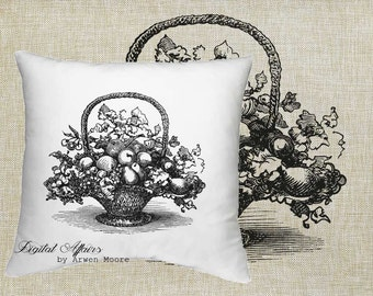 Digital Download Dinningroom Collection Vintage Basket of Furits Black & White Image For Papercrafts, Transfer, Pillows, Totes, Etc va-008