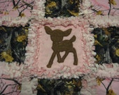 Real Tree Pink and Brown Camofluage Deer Baby Girl Rag Quilt Blanket 22x22