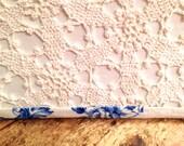 Crochet Lamp Shade Rectangle Lampshade Upcycled Crochet - 6x12x8 washer top - Handmade Light Shade - Shabby Chic