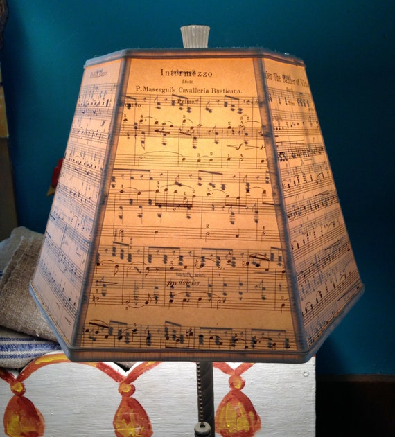 Make Wall Lamp Shades : Music Lamp Shade Paper Lampshade Vintage Sheet by lampshadelady
