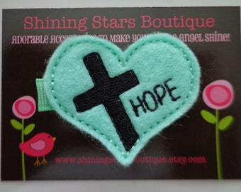 Girls Hair Accessories - Felt Hair Clips - Mint Green Embroidered Felt HOPE With A Cross Hair Clippie For Toddlers And Kids - Jesus Bow