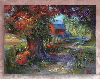 Autumn Fall Farm Country Lane Pumpkins - Fine Art Print from Original Pastel Painting