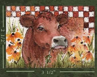ACEO Original Cow Painting - FREE Shipping