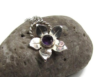 Amethyst Flower Pendant - Gemstone Pendant - Small Everyday Necklace - Silver Flower Pendant - February Birthstone Necklace - Gift For Teen