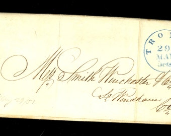 1851 Troy NewYork Blue Stampless Folded Letter CDS SFL Winchester Connecticut I9