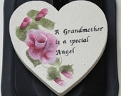 Pink roses, hand Painted Heart Magnet, Grandmother