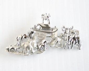 Noahs Ark Silver Brooch Vintage Bright Silvertone Brooch Animals Figural Pin