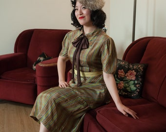 Vintage 1930s Dress - Wonderful Plaid 30s Peplum Day Dress in Brown, Chartreuse, Blue and Rose