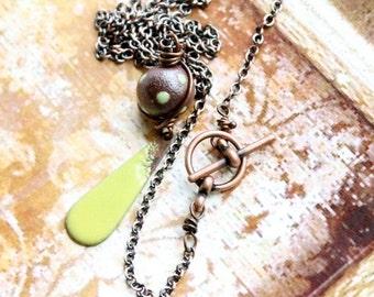 ON SALE Lime Green Enamel Necklace - Teardrop Pendant, Brown Copper, Polkadot, Rustic Boho Jewelry