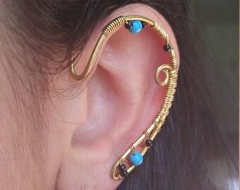 Brass Elf ear earcuff pair w/ turquoise gemstones and unique wire work Elf Ears, Elvish, Elven Ears, Pixie Ears, Fairy Ears,