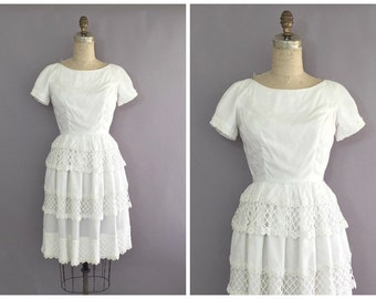 1960s Henley Jr white lace tiered dress • vintage 1960s dress