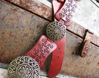 Vintage Fossil Leather Belt || Retro Bohemian Gypsy || Boho Hippie Brown Belt || Fashion Accessory
