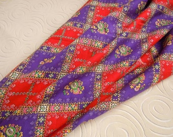 Red and Purple Checkered Fabric | Red Hat Society Cotton Blend Fabric | Floral Border Fabric