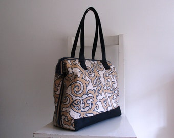 Printed Cotton Doctor Bag /Tote - Blue, Cream and White