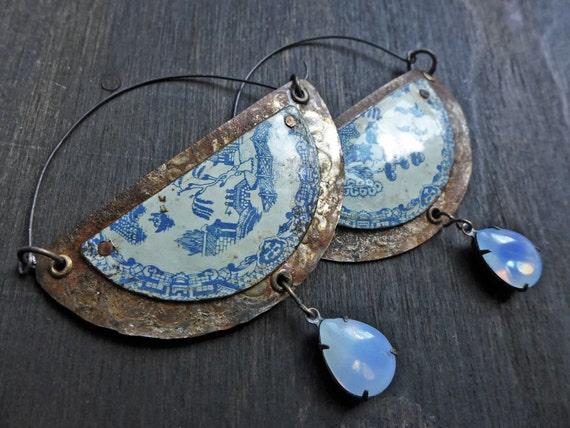 Ouranus. Rustic artisan blade hoop earrings. Primitive assemblage.