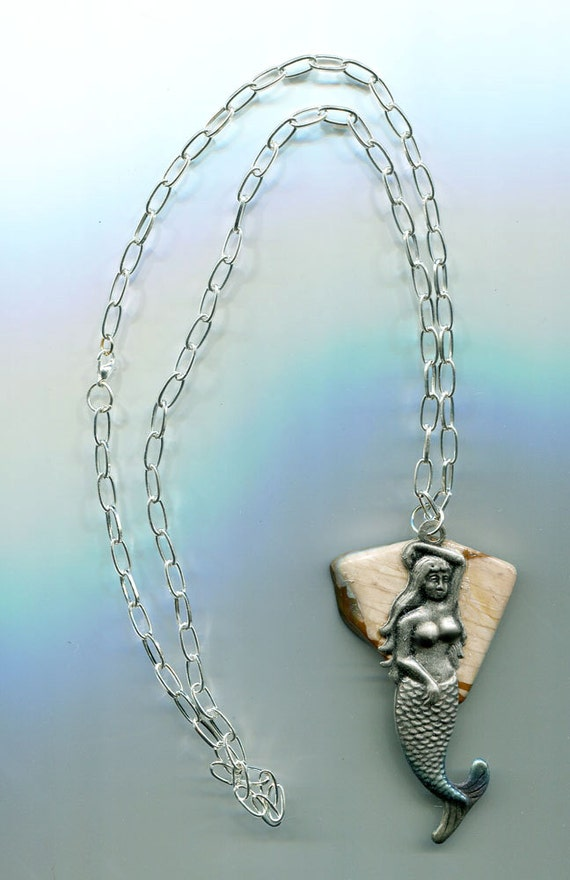 handmade mermaid stone necklace gemstone mermaid pendant silver chain fantasy handmade natural jewelry