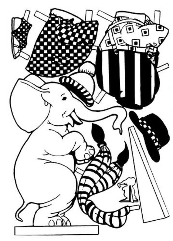 circus elephant paper doll printable art clipart coloring page digital download image graphics carnival animals digi stamp digital print