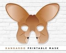 Kangaroo Printable Animal Halloween Party Kids Mask Pdf