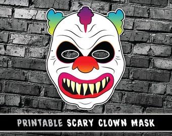 Scary Clown Mask   Creepy Halloween Mask   Printable Costume