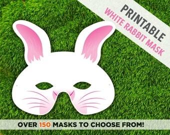 White Easter Bunny Printable Mask   White Rabbit Mask   Animal Mask   Printable Mask