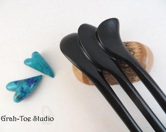 Hair forks Wellestil Design Ebony Wood 3  Prong Grahtoe studio, Man Bun, Hairfork, Carved Hairfork, Hair Pick, Hair Toys, Wood Fork