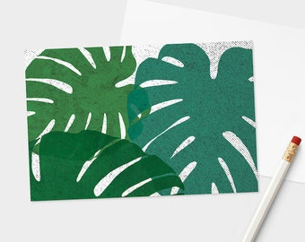 Monstera Leaves Postcard