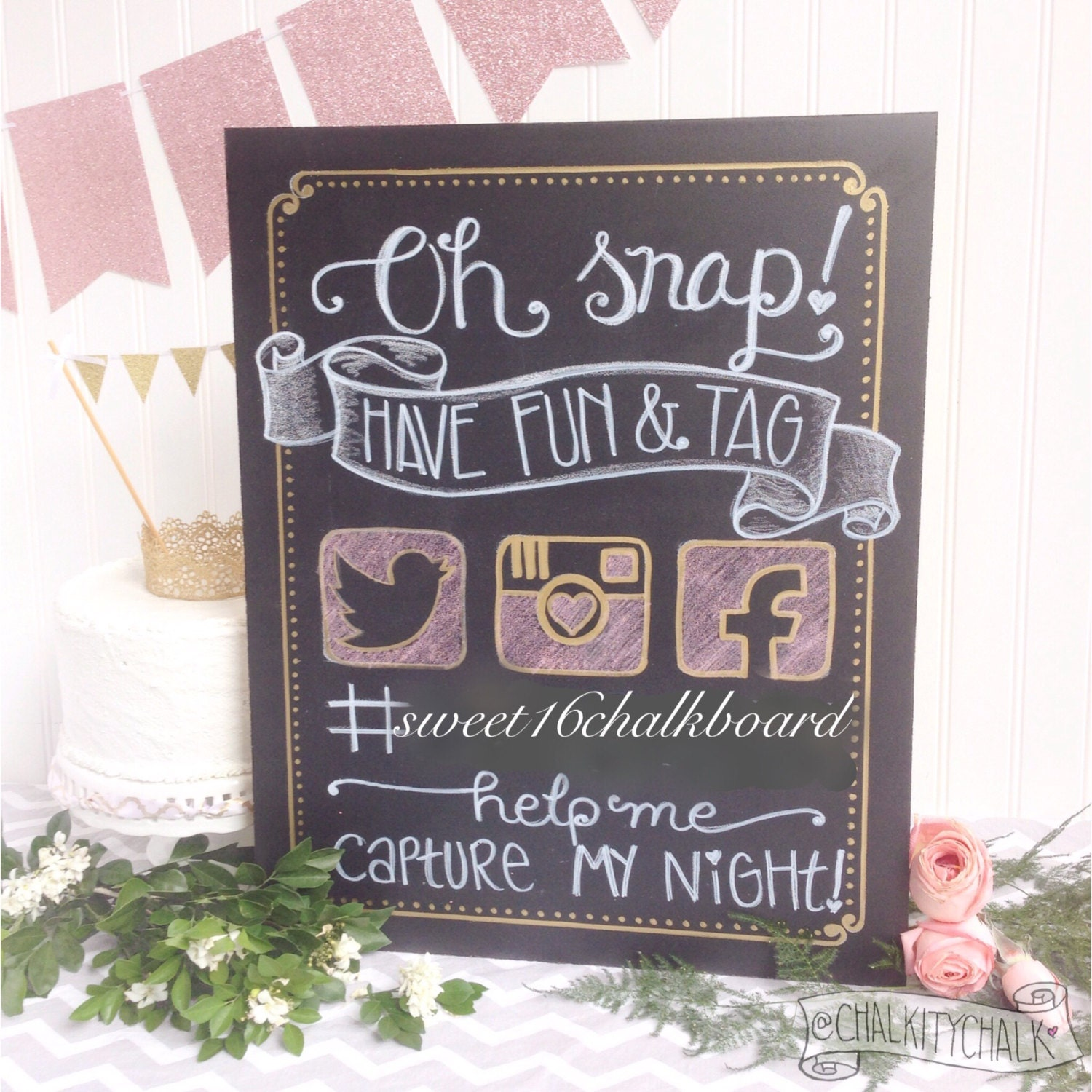 Oh snap hashtag your day hand lettered sweet 16 chalkboard - Take chance black themed bathroom ...