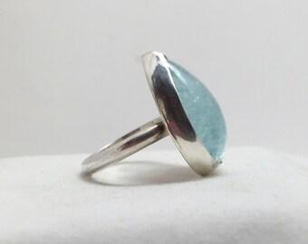 Large Aquamarine Sterling Silver Ring/ Statement Ring/ Sterling Silver Gemstone Ring/ March Birthstone