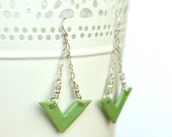 Green Chevron Earrings made from polymer clay
