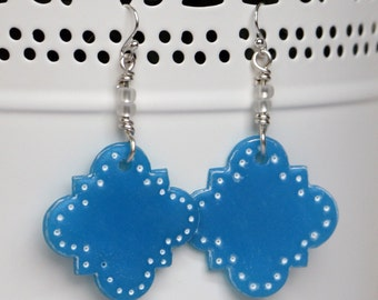 Blue Polymer Clay Translucent Moroccan Earrings