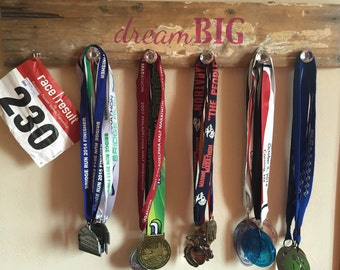 Authentic barn wood sign for runner medals running 31x5.5 inches custom unique gift rack race bib holder display