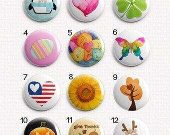 """Seasons Holidays 1"""" Magnets for Magnetic Jewelry or use as Refrigerator Magnets - Choose One"""