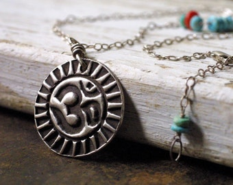 One-of-a-Kind Boho Chic AUM Necklace - Sterling Silver, Fine Silver, Turquoise and Red Coral - Yoga Jewelry - Hippie Chic