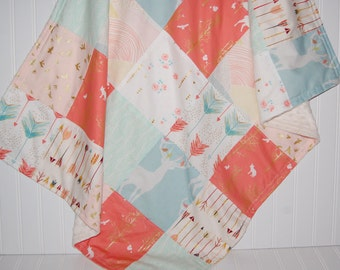 patchwork minky baby blanket - deer baby blanket- arrow baby blanket- coral elk baby blanket- baby girl bedding- crib bedding