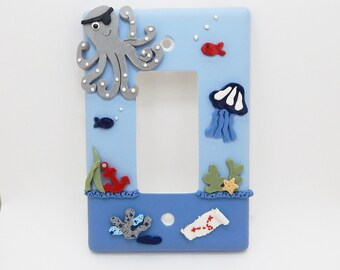 Pirate Themed Light Switch or Outlet Cover - Under the Sea Pirate Themed Room Decor - Boys Pirate - Blue, Gray - Toggle or Rocker Cover
