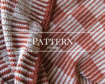 crochet afghan pattern  checkerboard pattern  copper cream blanket