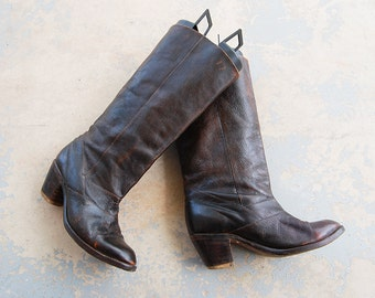 vintage 70s Campus Boots - 1970s Tall Western Cowgirl Boots - Dark Brown Leather Boots Sz 8 8.5 39
