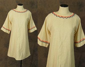 vintage 60s Dress - 1960s Boho Embroidered Shift Dress Hippie Folk Bell Sleeve Dress Sz L