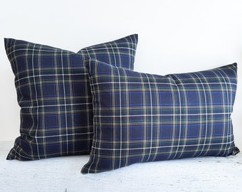 Blue Green Country Pillow Cover, 18x18, Blue Green Plaid Pillow, Mens Blue Plaid Pillow, Navy Blue Pillows, Masculine Rustic Pillows