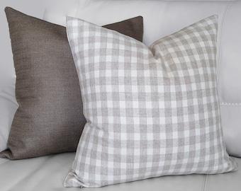 Neutral Checked Pillows, Check Pillow Covers, Taupe Wool Pillows, Neutral Sofa Pillows, Masculine Home Decor, 18x18, 20x20, Winter Pillows