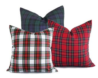 Plaid Christmas Pillows, Set of 3 Christmas Cushion Covers, White Red Blue Plaid Pillow Covers, Traditional Holiday Pillows, 18x18 20x20