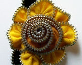 Goldenrod Yellow and Apricot Gold Floral Brooch / Zipper Pin by ZipPinning 2426