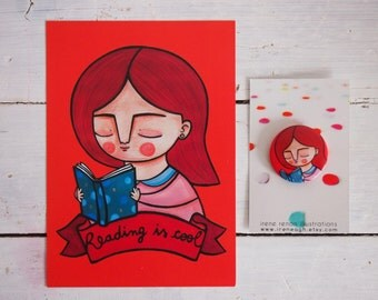 SET, reading is cool postcard & red girl portrait brooch