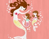 """8X10"""" Mermaid Mother & Two Daughters giclee print on art paper. Coral, magenta pink, mint, yellow, brunette, texture background"""